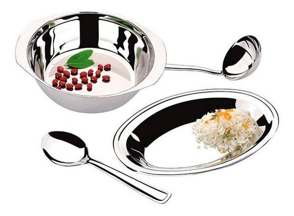 Imagem de Conjunto Inox arroz e feijão MegaInox baixela concha e colher
