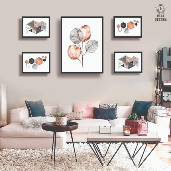 Imagem de Conjunto kit 5 quadros decorativos geometrico rose gold quarto sala