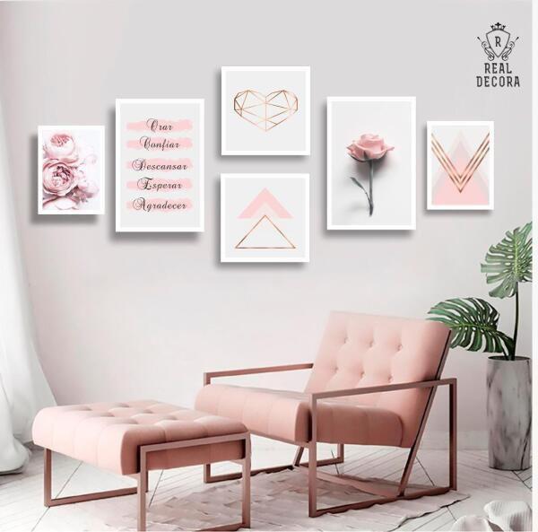 Imagem de Conjunto kit 6 quadros decorativos rose feminino floral quarto sala