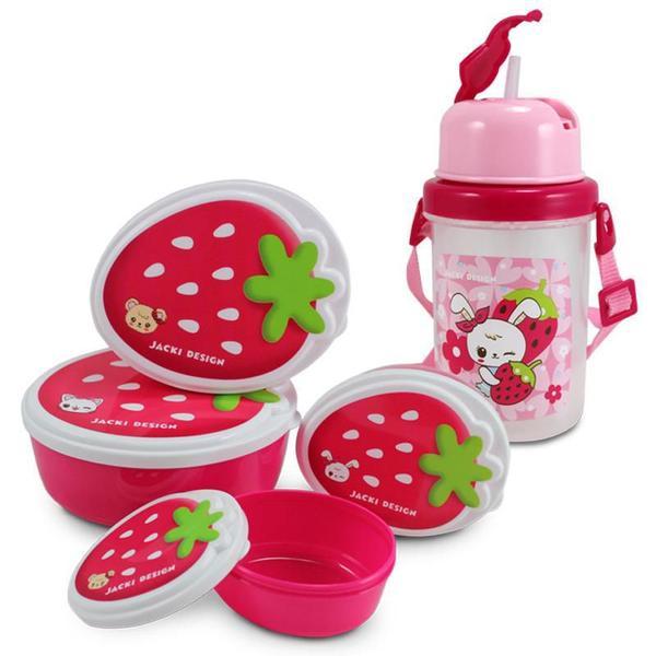Imagem de Conjunto Pote para Lanche e Squeeze filhotinhos Menina Jacki Design