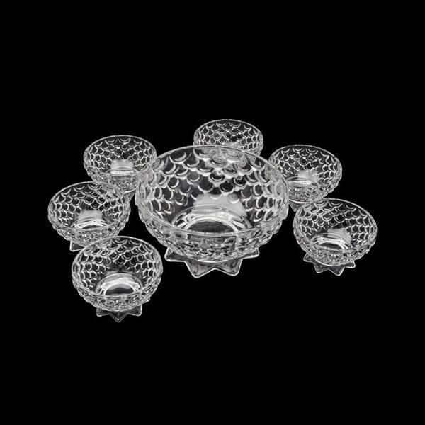 Imagem de Conjunto Sobremesa  Pineapple 7 Peças Cristal 19x10cm 10x6cm