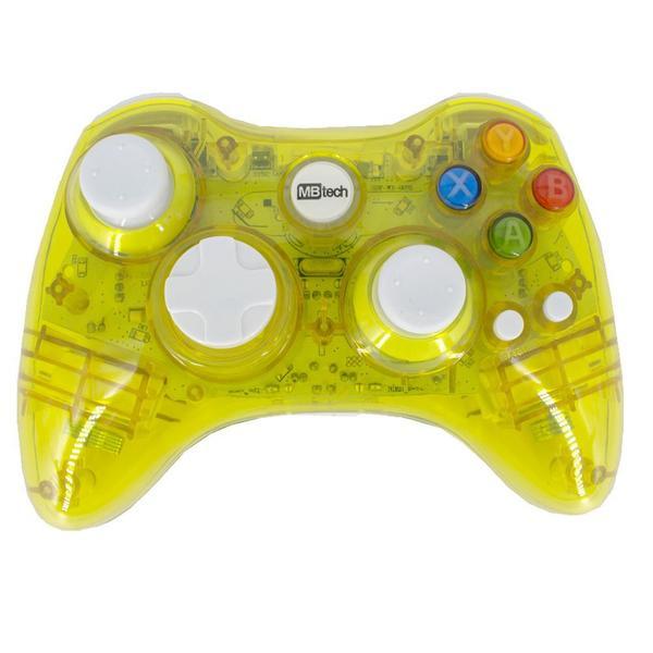 Imagem de Controle Sem Fio Transparente À Pilha Paral Xbox 360 Amarelo
