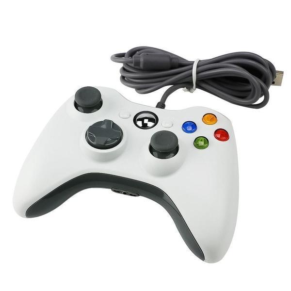 Imagem de Controle Xbox 360 com fio -Vibração Duoble Para Xbox 360 PC, Branco