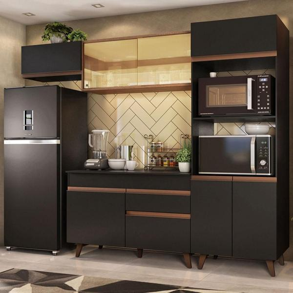 Imagem de Cozinha Completa Madesa Reims 260001 com Armário e Balcão - Preto/Rustic