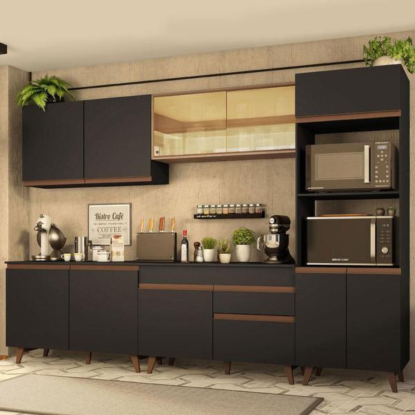 Imagem de Cozinha Completa Madesa Reims 310001 com Armário e Balcão - Preto/Rustic