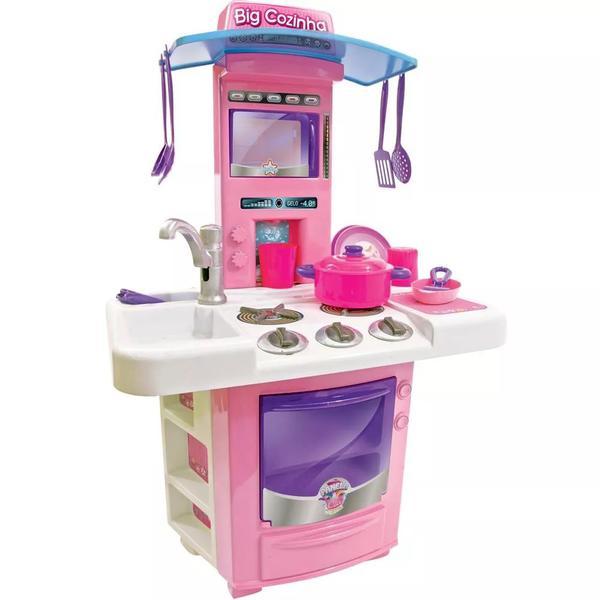 Imagem de Cozinha Infantil Menina Completa Pia Fogão Forno Sai Água - Carisma