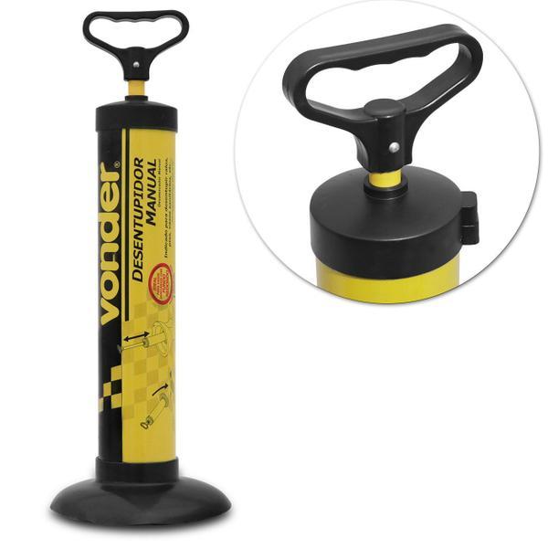 Imagem de Desentupidor Pia e Vaso Sanitário Manual Vonder Tipo Bomba Amarelo e Preto