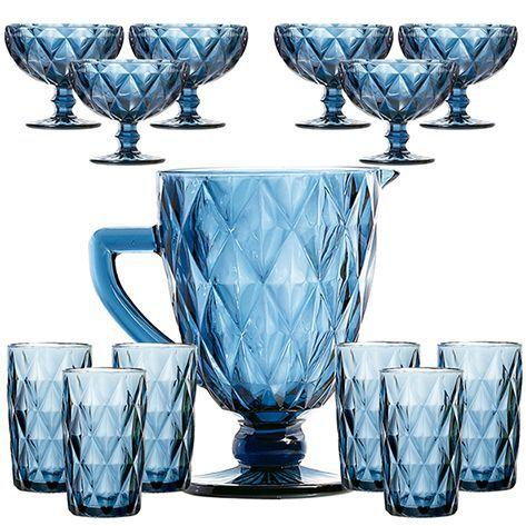 Imagem de Diamante Azul Jarra + Copo + Taça Sobremesa Kit 13pçs