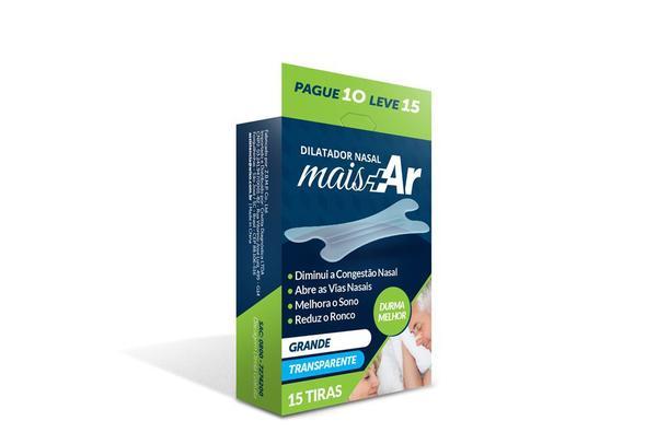 Imagem de Dilatador Nasal Mais Ar - Grande - Transparente - Caixa c/ 15 Unid