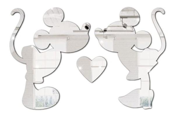 Imagem de Espelho Decorativo Mickey Minnie Em Acrílico Enfeite - Tecnotronics