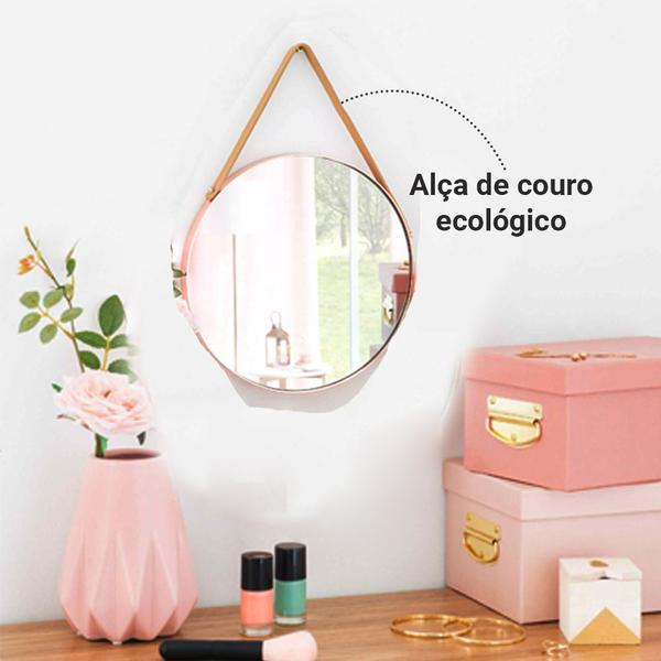 Imagem de Espelho Redondo Alça Decorativo Adnet Pendurar Parede 35cm - Fwb