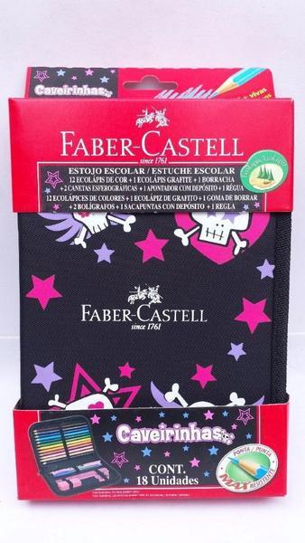 Imagem de Estojo Escolar Nylon Caveirinhas Faber-castell