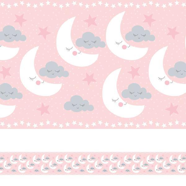 Imagem de Faixa de Parede Nuvens e Lua Rosa Quarto de Meninas 6mx15cm