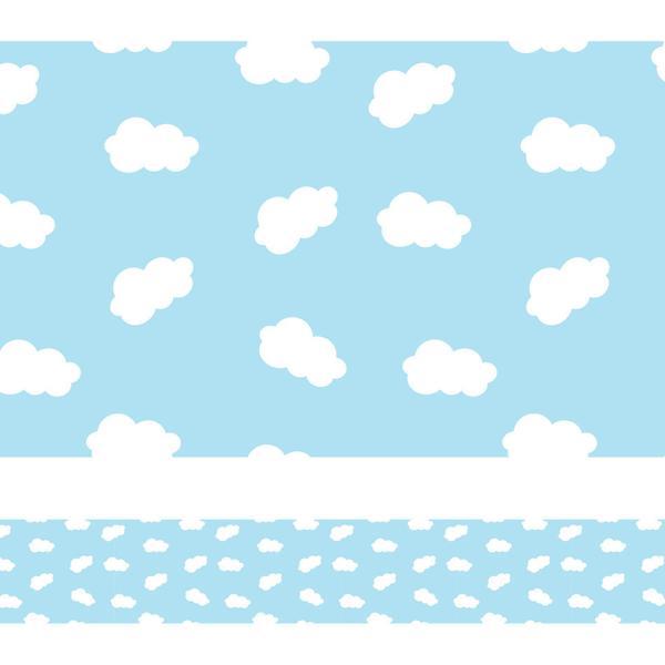 Imagem de Faixa de Parede Nuvens em Azul para Quarto Infantil 10mx10cm