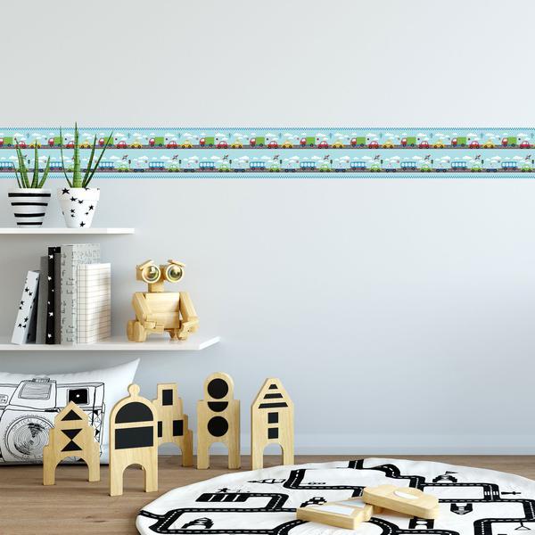 Imagem de Faixa Decorativa Infantil Adesiva Carros 6mx15cm