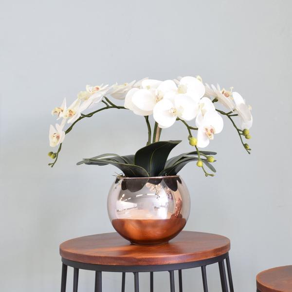 Imagem de Flores artificiais Arranjo de Orquídeas Branco no Vaso Rose Gold