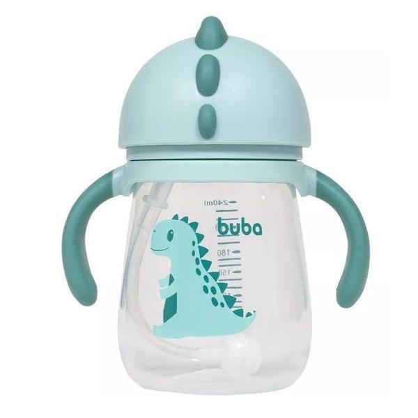 Imagem de Garrafa para Bebê com Alça e Canudo de Silicone Dinossauro Verde BUBA