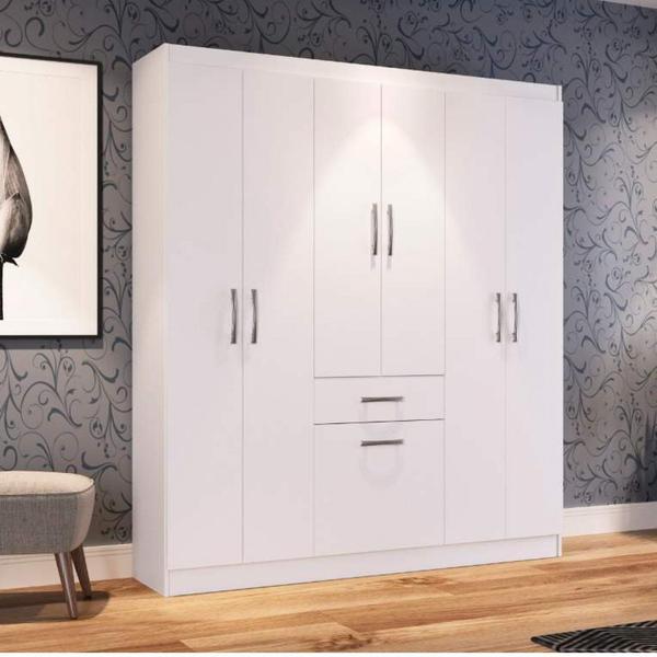 Imagem de Guarda Roupa Casal 6 Portas 1 Porta Basculante 1 Gaveta Dallas Espresso Móveis Branco