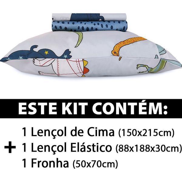 Imagem de Jogo De Cama Lençol Solteiro 3 Peças Infantil 88x188x30 - BF Colchões