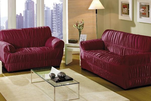 Imagem de Jogo de capa p/ sofá  vinho 26 elásticos  fabiana 2 e 3 lugares