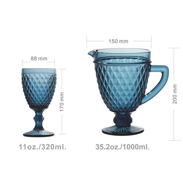Imagem de Jogo de Jarra e 6 Taças Diamond Azul Escuro