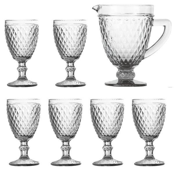 Imagem de Jogo de Jarra e 6 Taças Diamond Transparente