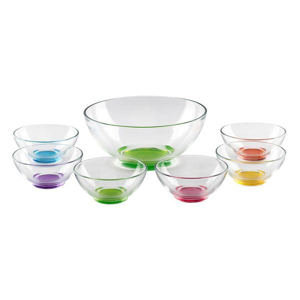 Imagem de Jogo de Saladeira 24x10,5cm com 6 bowls 13x6cm em vidro Aqua Color - Pasabahçe