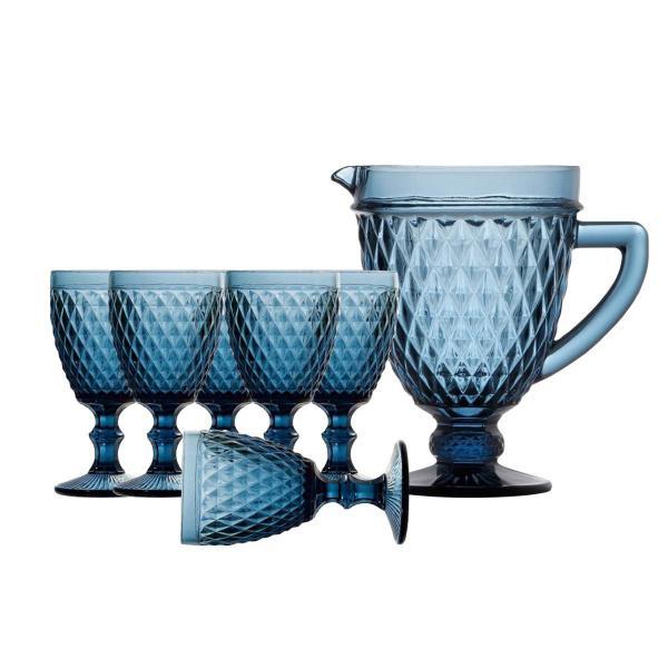 Imagem de Jogo de Taças e Jarra Bico de Abacaxi Azul - Lyor