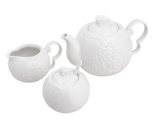 Imagem de Jogo para Servir Chá e Café em Porcelana Butterfly - Bon Gourmet