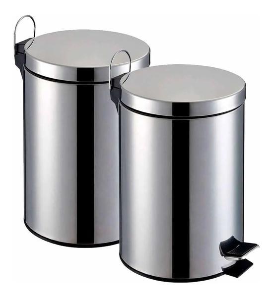 Imagem de Kit 2 Lixeira Pedal 5 Litros Inox Cozinh Banheiro Escritório - Chazak