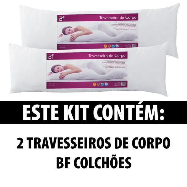 Imagem de Kit 2 Travesseiro De Corpo Com Fronha Antialérgico Fibra Siliconada Extra Macio BF Colchões - Emcompre