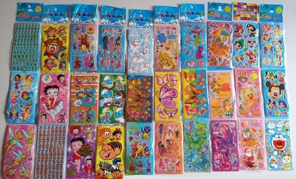 Imagem de Kit 240 Cartelas Adesivo Infantil Sticker Vários Personagens de Menino e Menina