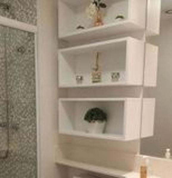 Imagem de Kit 3 nichos retangular para banheiro MDF branco TX (MONTADO) - Móveis Alice