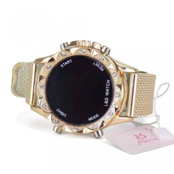 Imagem de Kit 4 Relógios Femininos  Digitais em LED  Dourado