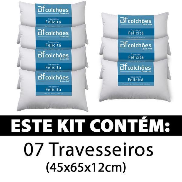 Imagem de Kit 7 Travesseiro Fibra Siliconada Antialérgico 45x65cm BF Colchões