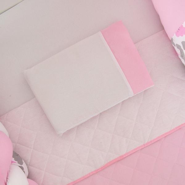 Imagem de Kit Berço Trança Passarinho Menina Rosa 11 Peças Com Saia