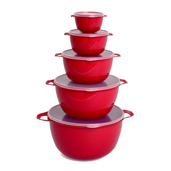 Imagem de Kit Bowls Plásticos 5 Peças Com Tampa Bacia Multiuso MB - Vermelho