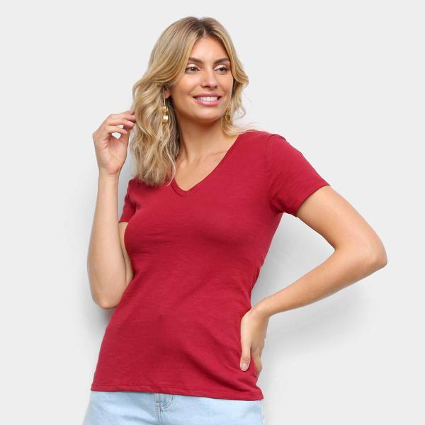 Imagem de Kit Camiseta Básicos Gola V Lisa  C/ 5 Peças Feminina