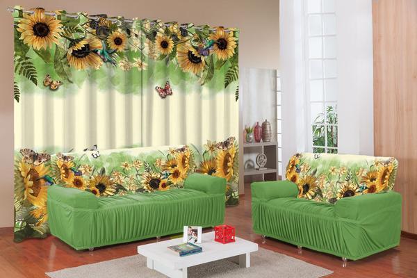 Imagem de Kit Capa De Sofá Estampada 2 E 3 Lugares + Cortina estampada sala e quarto 2,5m x 3,5m - Girassóis