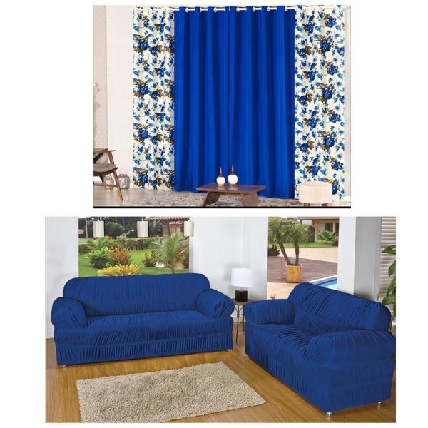 Imagem de Kit Capa Sofá 2/3 Lugares + Cortina Rústica 2 Metros Estampada - Azul