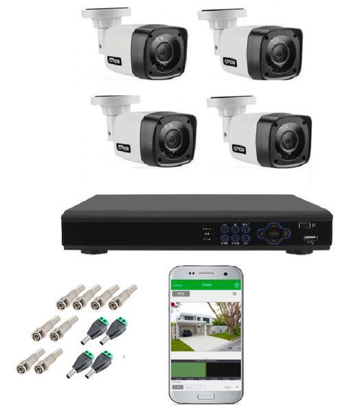 Imagem de Kit Cftv 4 Câmeras Infravermelho Segurança 1mp 20m Dvr Full Hd 4 Ch S/ Hd c/ conectores Promo - Citrox