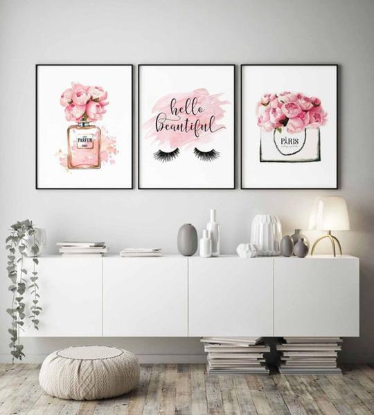 Imagem de Kit conjunto 3 quadros decoração quarto menina infantil 20x30