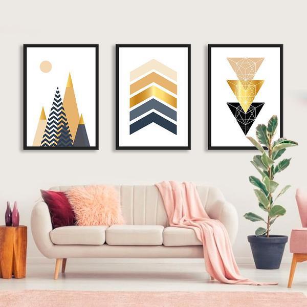 Imagem de Kit de Quadros Decorativos Geométricos Gold