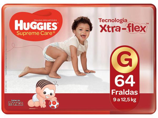 Imagem de Kit Fraldas Huggies Supreme Care - Tam. G 9 a 12,5kg 4 Pacotes com 64 Unidades Cada