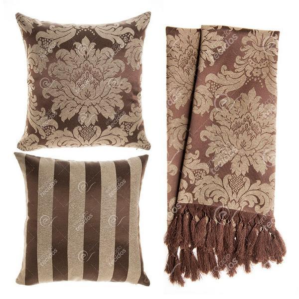 Imagem de Kit Manta e Capa de Almofada para sofá em Tecido Jacquard Marrom e Bege Tradicional