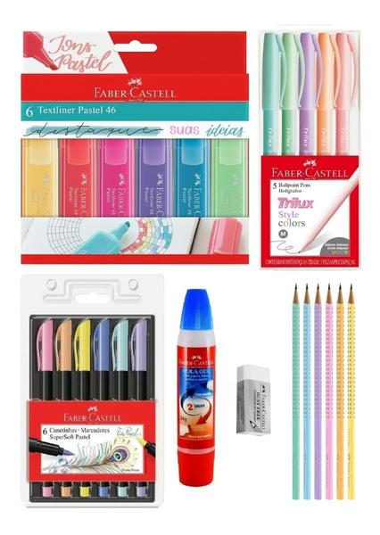 Imagem de Kit Marca Texto Textliner Faber Castell + Brush Pen + Lápis + Cola