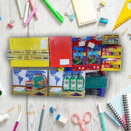 Imagem de Kit Material Escolar Completo Barato Criativa