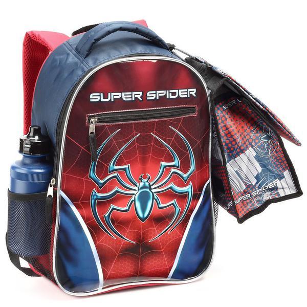 Imagem de Kit Mochila Escolar Infantil Aranha Spider Meninos 5 Peças Com Lancheira Estojo Squeeze