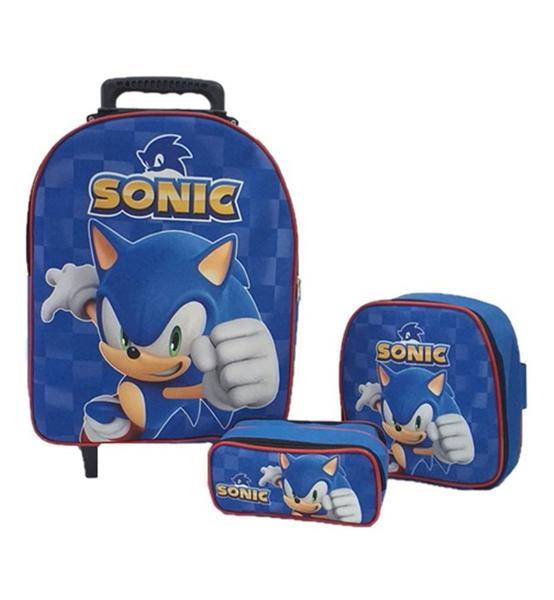 Imagem de Kit Mochila Infantil Sonic Azul