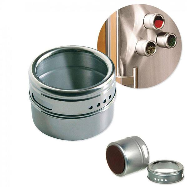 Imagem de Kit Porta Temperos E Condimentos Em Aço Inox Magnetico Metalizado Para Cozinha (Ixb0109)